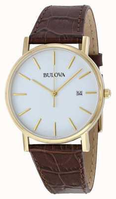 Bulova Relógio de couro marrom clássico masculino 97B100