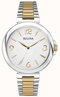 Bulova Relógio de vestido de aço inoxidável de dois tons feminino 98L194