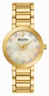 Bulova PVD feminino banhado a ouro relógio de cristal 97P133