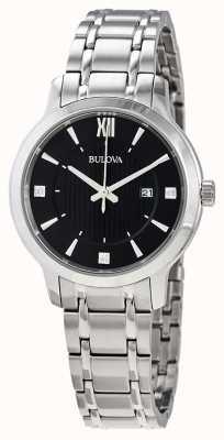 Bulova Relógio de vestido de cristal de aço inoxidável feminino 96P185