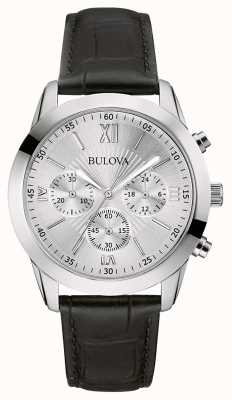 Bulova Relógio de couro preto cronógrafo clássico masculino 96A162