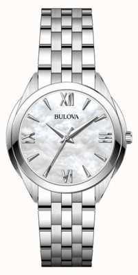 Bulova Mãe de aço inoxidável das mulheres de relógio com mostrador pérola 96L268
