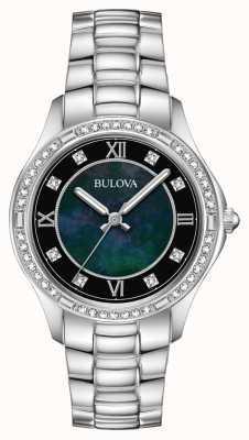 Bulova Relógio de cristal de aço inoxidável feminino 96L266