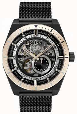 Hugo Boss Assinatura masculina de esqueleto automático em PVD preto 1513655
