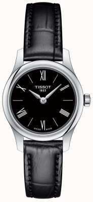 Tissot Pulseira de couro preta 5.5 feminina com mostrador preto T0630091605800