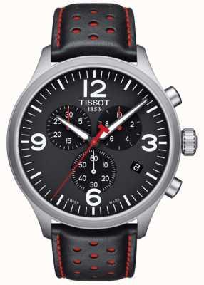 Tissot Mens chrono xl pulseira de couro preto mostrador preto T1166171605702