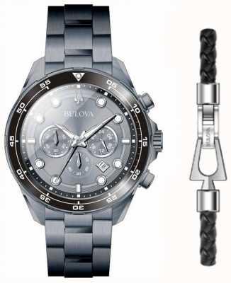 Bulova Pvd preto masculino chapeado relógio e pulseira dom conjunto 98K104