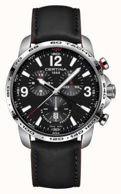 Certina Mens ds chronograph podium pulseira de couro preto mostrador preto C0016471605701