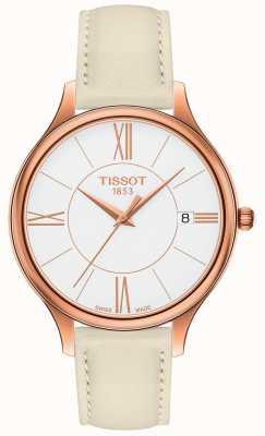 Tissot Bracelete de couro feminino bella ora cinza T1032103601800