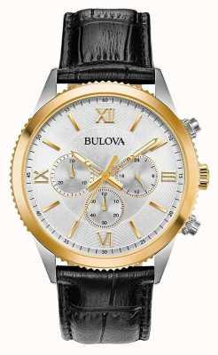 Bulova Relógio de cronógrafo de couro preto feminino 98A218