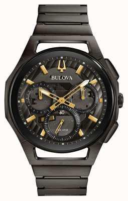 Bulova Pv masculino chapeado bronze gunmetal relógio 98A206