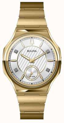 Bulova Relógio banhado a ouro de aço inoxidável unisex curv 97P136