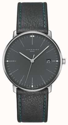 Junghans Max bill mega mf pulseira de couro cinza 058/4823.00