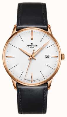 Junghans Meister mega mf pulseira de couro preto banhado a ouro 058/7800.00