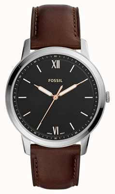 Fossil Mens o relógio minimalista mostrador preto pulseira de couro marrom FS5464