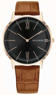 Tommy Hilfiger Mens cooper relógio marrom couro preto dial cinta caixa de aço 1791516