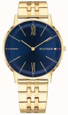 Tommy Hilfiger Mens cooper relógio ouro tom pulseira mostrador azul 1791513