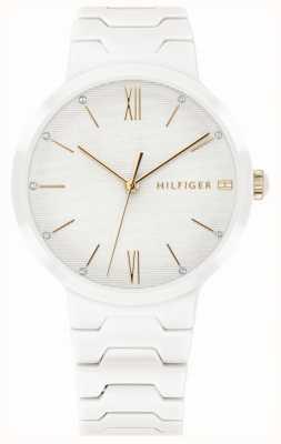 Tommy Hilfiger Relógio de avery de pulseira de cerâmica branca das mulheres 1781956