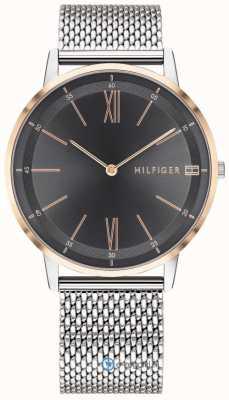 Tommy Hilfiger Mens cooper relógio pulseira de malha de aço inoxidável mostrador preto 1791512