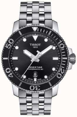 Tissot Mens seastar 1000 powermatic 80 preto dial aço inoxidável T1204071105100