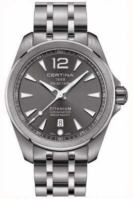 Certina Mens ds ação relógio cinza mostrador pulseira de titânio C0328514408700