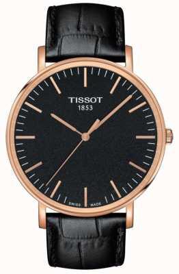Tissot Mens everytime grande pulseira de couro preto mostrador preto T1096103605100