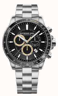 Raymond Weil Mens tango 300 relógio pulseira de aço inoxidável preto chrono 8570-ST1-20701