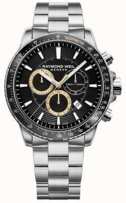 Raymond Weil Mens tango 300 relógio pulseira de aço inoxidável preto crono 8570-ST1-20701