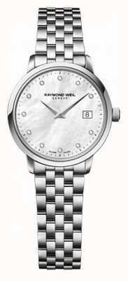 Raymond Weil Womens freelancer moher de relógio de diamantes de discagem pérola 5626-ST-97081