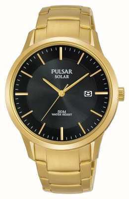 Pulsar Mens banhado a ouro data solar dial PX3162X1