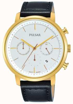 Pulsar Bracelete folheada a ouro preto com pulseira de couro PT3938X1