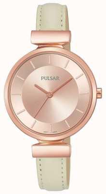 Pulsar Senhoras rosa banhado a ouro caso pulseira de couro creme PH8418X1