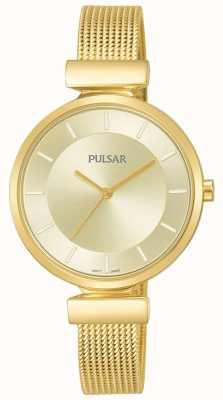 Pulsar Relógio de malha de aço inoxidável de senhoras de ouro PH8412X1