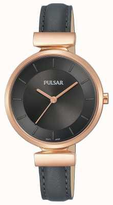 Pulsar Senhoras rosa banhado a ouro caso pulseira de couro cinza escuro PH8420X1