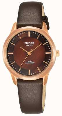 Pulsar Senhoras rosa banhado a ouro caso pulseira de couro marrom mostrador marrom PY5044X1