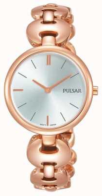 Pulsar Senhoras rosa banhado a ouro relógio mostrador prateado PM2268X1