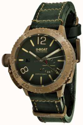 U-Boat Doppiotempo 46 bracelete de couro verde automático bronzo gr 9088