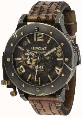 U-Boat U-42 unicum look vintage pulseira de couro marrom automática 8188