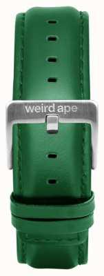 Weird Ape Couro esmeralda 20mm cinta prata fivela ST01-000110