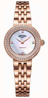 Rotary Womens kensington cristal rosa pulseira de ouro LB05374/41