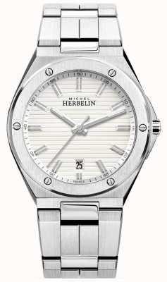 Michel Herbelin Mens pulseira de aço inoxidável relógio branco 12245/B12