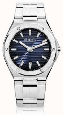 Michel Herbelin Relógio masculino em aço inoxidável com mostrador azul 12245/B15