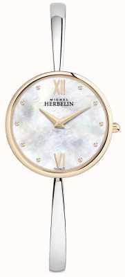 Michel Herbelin Senhoras rosa pulseira de prata de relógio de ouro 17418/BTR19
