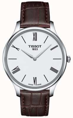 Tissot Mens tradição fina pulseira de couro marrom relógio T0634091601800
