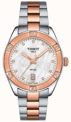 Tissot Womens pr100 esporte chique dois tom relógio pulseira T1019102211600