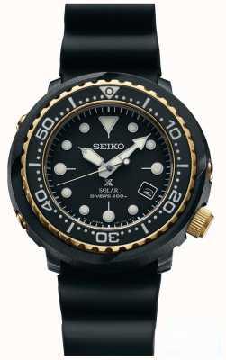 Seiko Mens atum preto e ouro solar prospex mergulhadores relógio SNE498P1