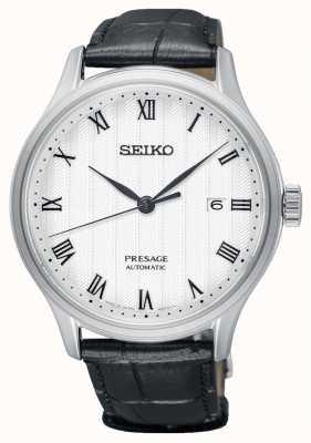 Seiko Presage mens automático branco mostrador pulseira de couro preto SRPC83J1