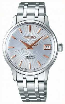 Seiko Presage womens relógio automático subiu de ouro e prata SRP855J1