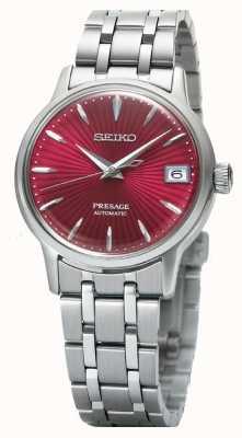 Seiko Relógio automático feminino Presage com mostrador vermelho em aço inoxidável SRP853J1