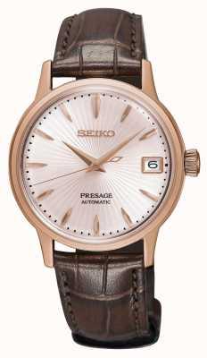 Seiko Presage womens relógio automático subiu pulseira de couro marrom ouro SRP852J1